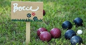 Bocce balls on grass