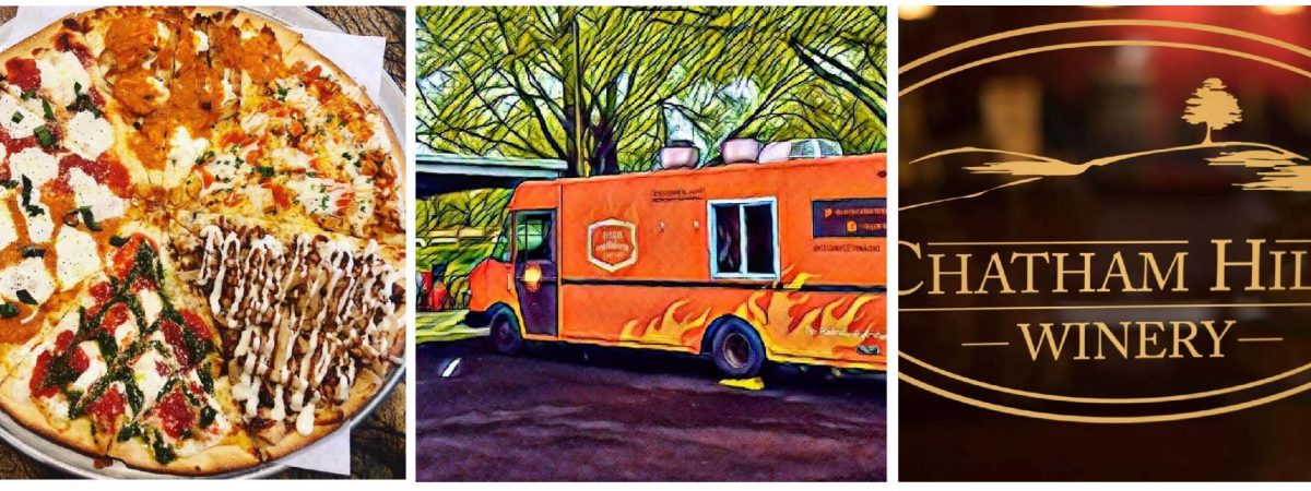 pizza, food truck, wine logo